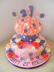 Giant-cupcake-tiered-21st-cake
