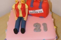 21st girls suitcase cake