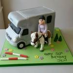 Horse Box horse and rider  ladies 50th birthday cake