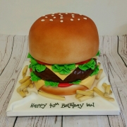 Beefburger and chips birthday cake