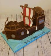Pirate ship childrens birthday cake 3d