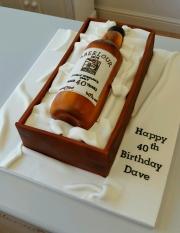 Whiskey Bottle and case 40th birthday cake