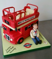 London open top Red Bus birthday cake