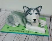 Husky dog birthday cake
