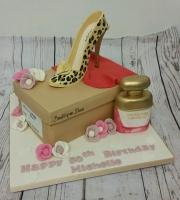 Leopard print stiletto and shoe box cake