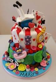 Alice in Wonderland tiered birthday cake