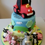 Farm animals and tractor childrens birthday cake