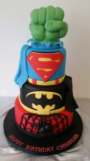Superhero batman spiderman hulk superman cake