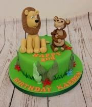 Jungle childrens birthday cake