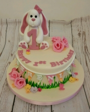 Girls 1st Birthday Bunny Cake