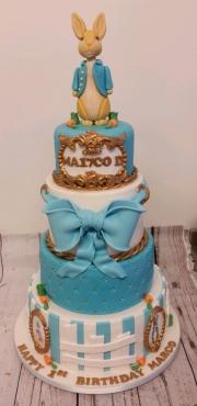 Peter Rabbit 4 tiered birthday cake
