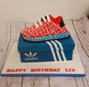 Adidas trainer and shoe box cake