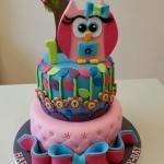 Girls 1st birthday owl cake