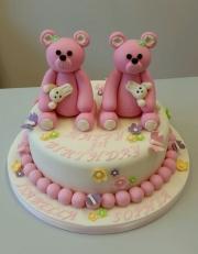 Twin girls 1st birthday cake