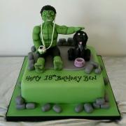 Hulk and dog cake