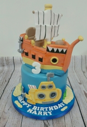 Sea and Ship Birthday Cake