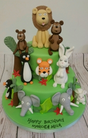 Animal Jungle Birthday Cake
