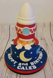 Rocket ship birthday cake