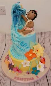 Baby Moana Tiered Birthday Cake