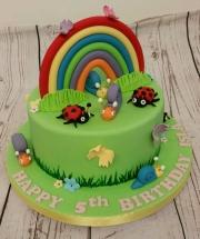 Rainbow and Bugs Children's Cake