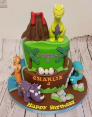 Dinosaur childrens birthday cake