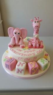Girls elephant and Giraffe Christening cake