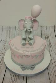 Girls elephant Christening cake
