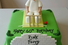 Mens Cricket and Pink Floyd birthday cake