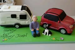 Mens 60th Car and Caravan birthday cake