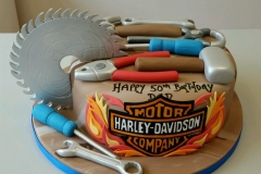 Mens 50th DIY tools and Harley Davidson cake