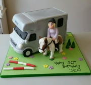 Horse and Horse box ladies 50th cake