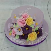 Ladies flowers birthday cake