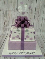 Tiered 21st gift box cake