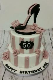 Ladies 50th tiered stiletto shoe cake