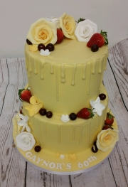 Ladies 60th tiered drizzle cake