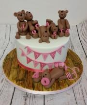 Ladies 40th teddy bear birthday cake