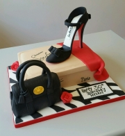 Ladies 30th stiletto and shoe box cake