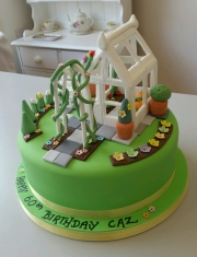 Ladies garden greenhouse birthday cake