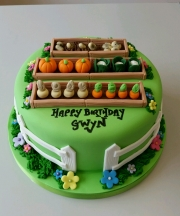 Veg patch birthday cake