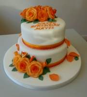 Ladies apricot roses birthday cake