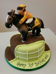 Horse racing and jockey cake
