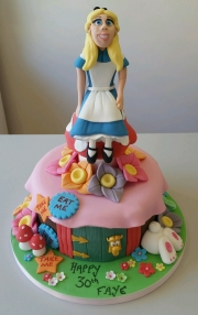 Alice in Wonderland land birthday cake