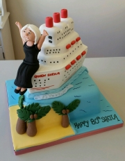 Ladies 80th Cruise ship cake