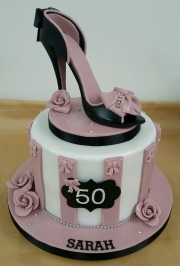 Ladies 50th stiletto shoe cake