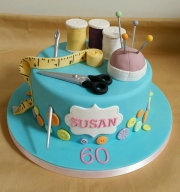 Ladies 60th Sewing birthday cake