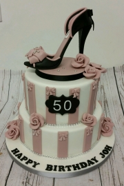 Ladies 50th tiered stiletto shoe cake