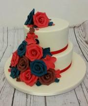 Flower cascade wedding cake