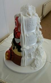2 themed wedding cake