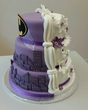 2 theme batman wedding cake