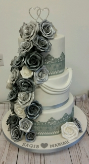 Silver rose cascade engagement cake